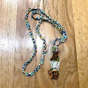 ☀️Handmade Micro Bead Rainbow Tribal Rope Necklace